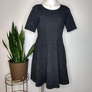 Lands'End black & white knit fit & flair dress M